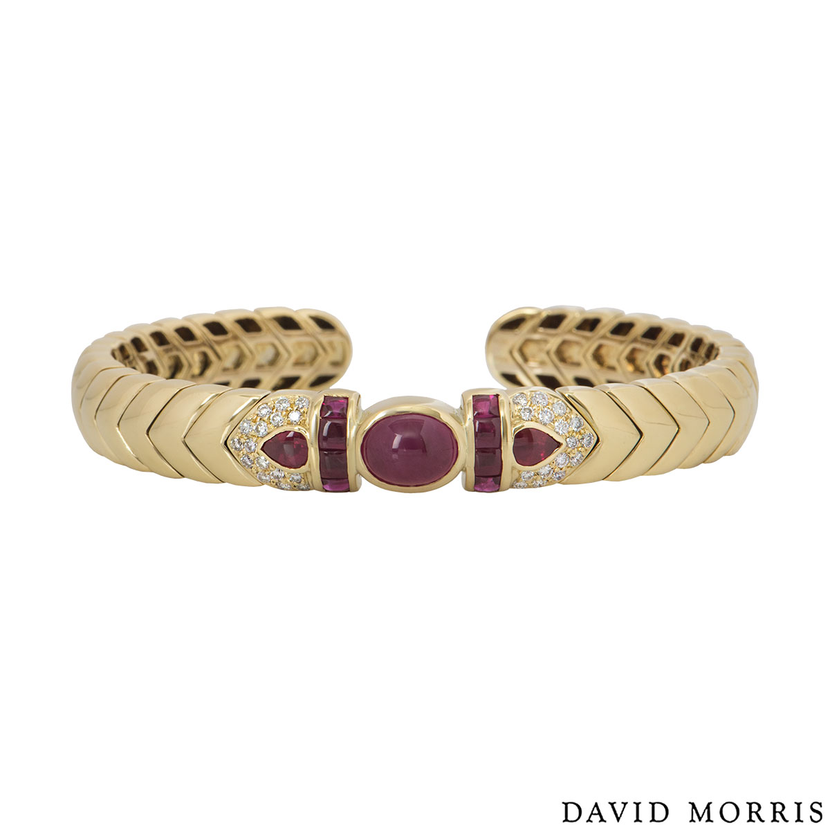 David Morris Yellow Gold Diamond And Ruby Cuff Bangle
